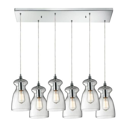 60053-6RC | Menlow Park 6 Light Pendant In Polished Chrome - 60053-6RC
