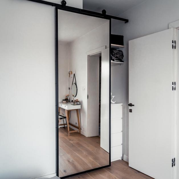 Sliding door mirror in youth room in the attic    RENO door …