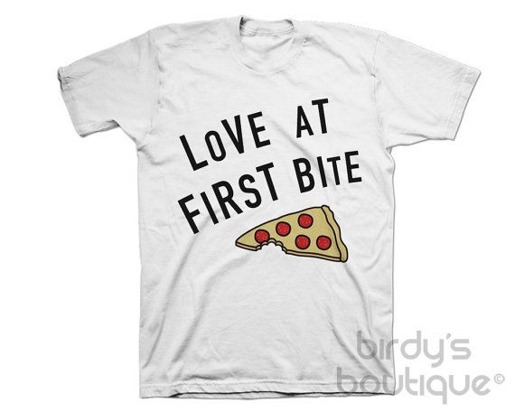 LOVE at FIRST BITE Pizza T-Shirt Tee Top Slice New Mens Womens Food Hipster Snack Sight Gift Idea Popular Culture Tumblr Quote Saying Fun