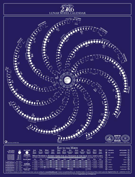 Moon Calendar Bird Bee S Original Lunar Wheel By Birdandbeeco