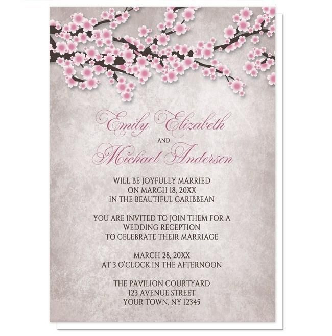 Small Ceremony Big Reception Invitations: Rustic Cherry Blossom Pink Reception Only Invitations