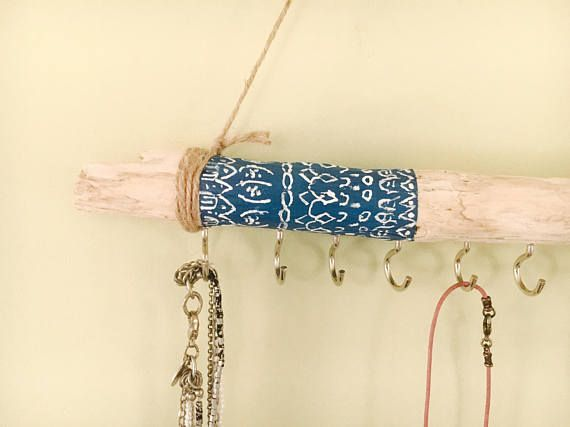 Driftwood jewelry organizer blue boho design hanging jewelry