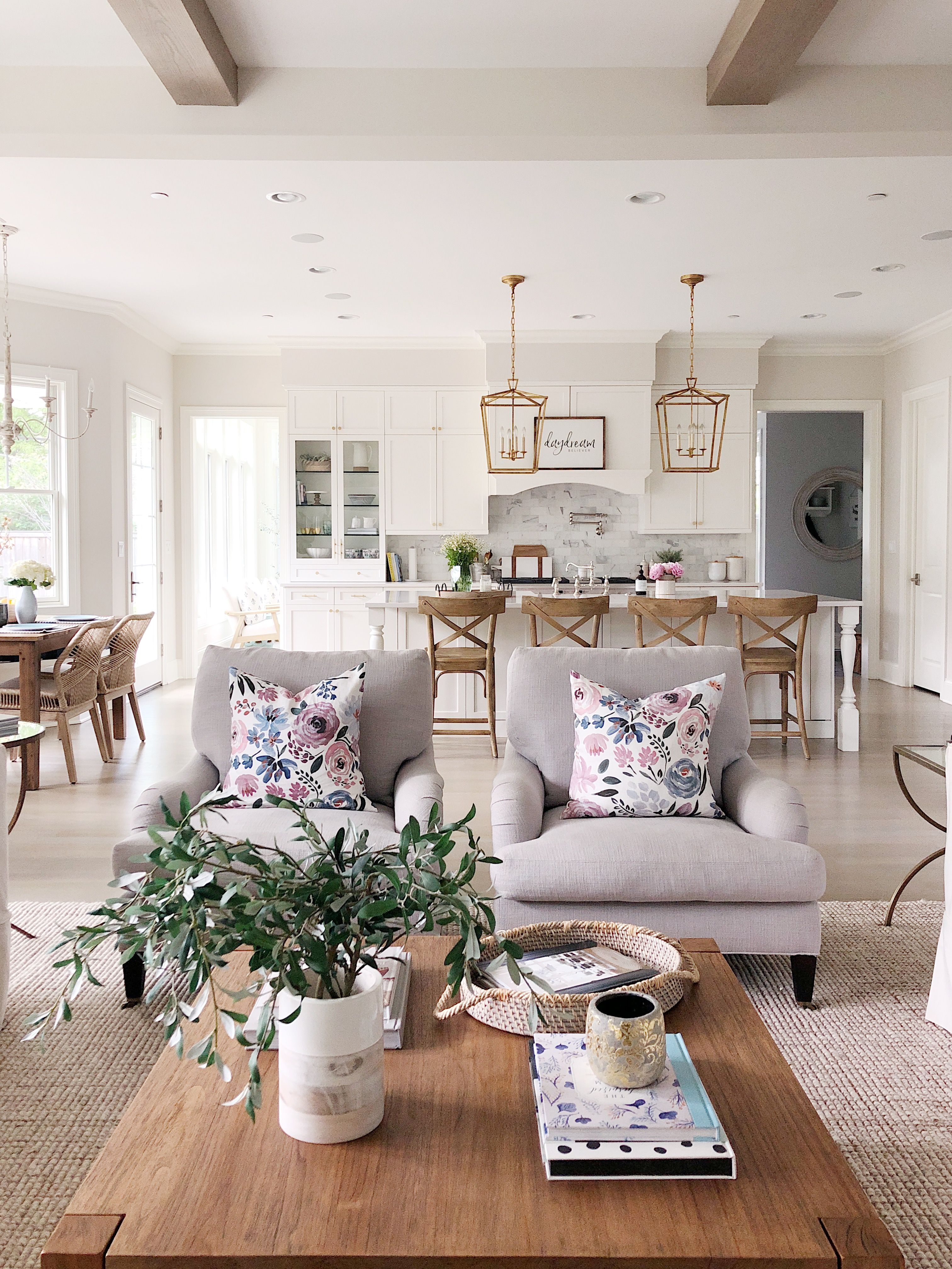Neutral Living Room With Grey Side Chairs Pottery Barn Wool Jute