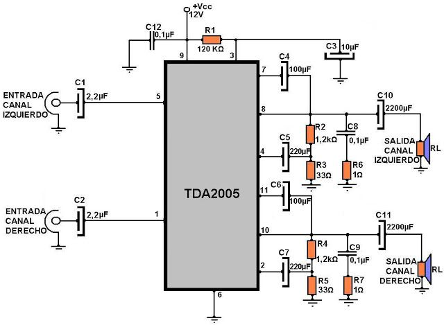 surround amplifier using tda7375