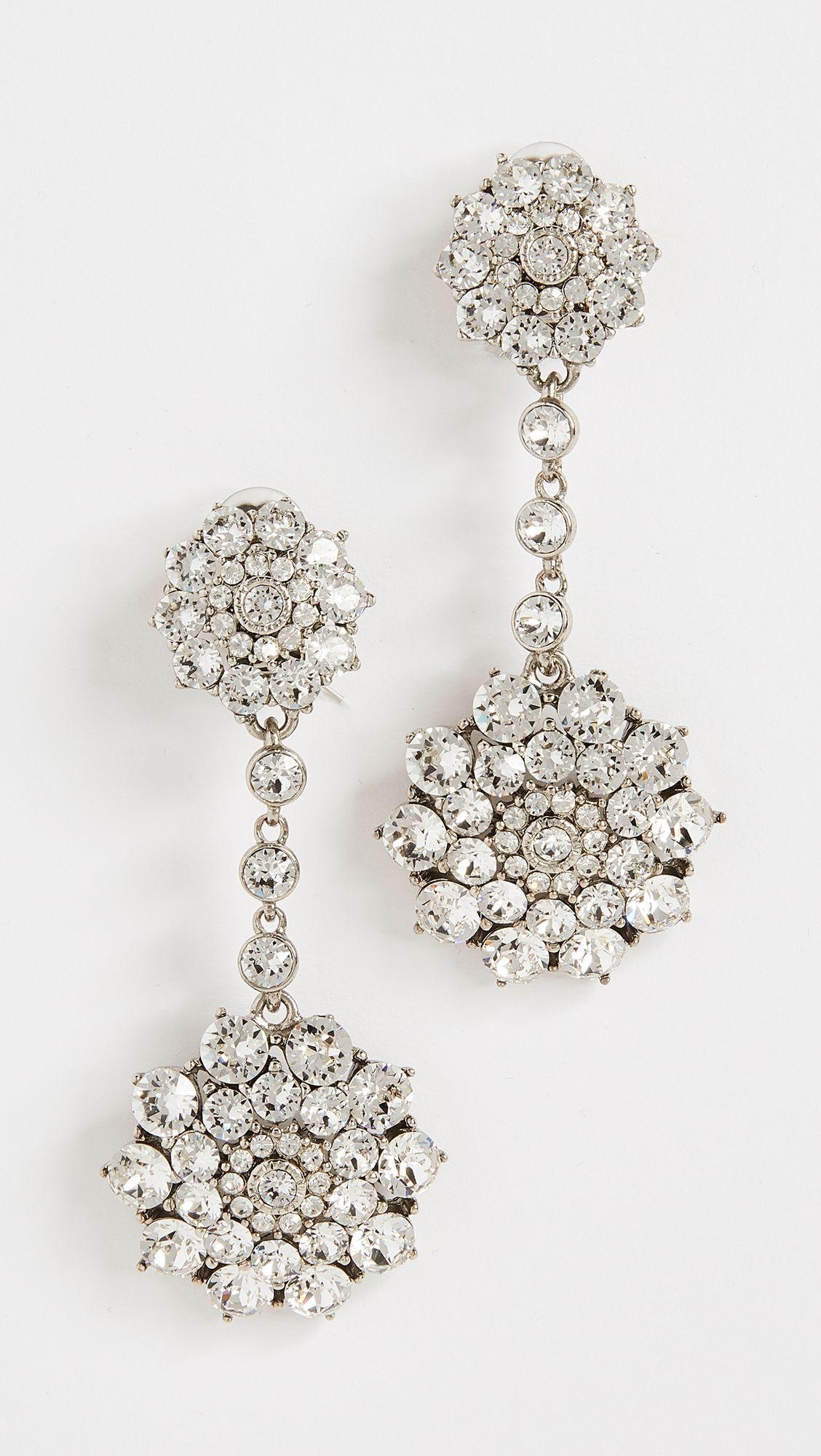 Oscar De La Renta Classic Jeweled Drop Earrings MRK39z