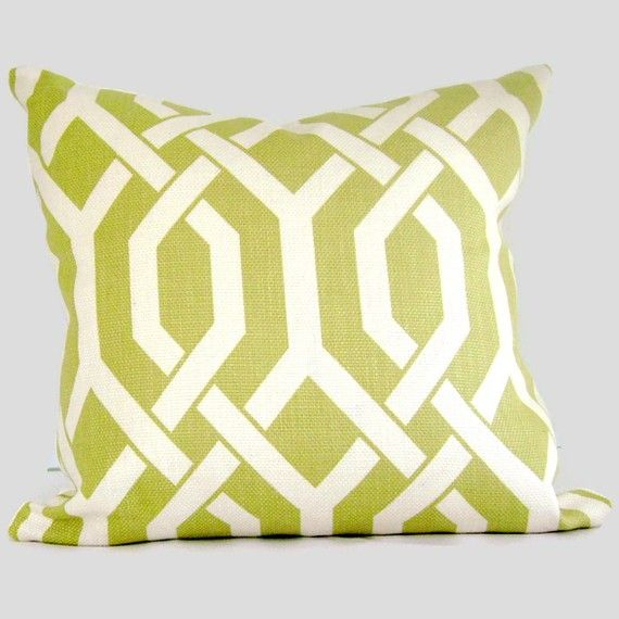 Chartreuse Green Trellis Decorative Pillow Cover Lumbar Pillow Gorgeous Chartreuse Pillows Decorative