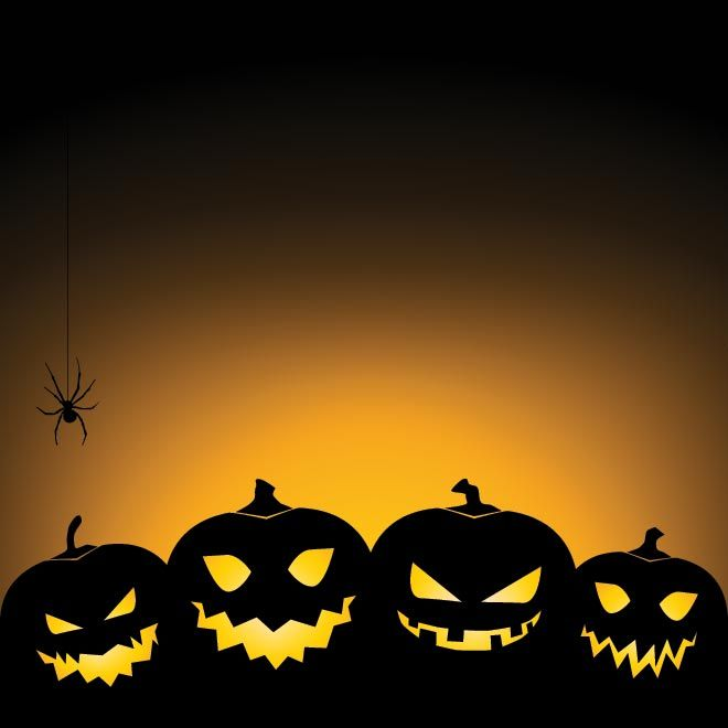 Vector Pumpkin Set With Spider Glowing Happy Halloween Background