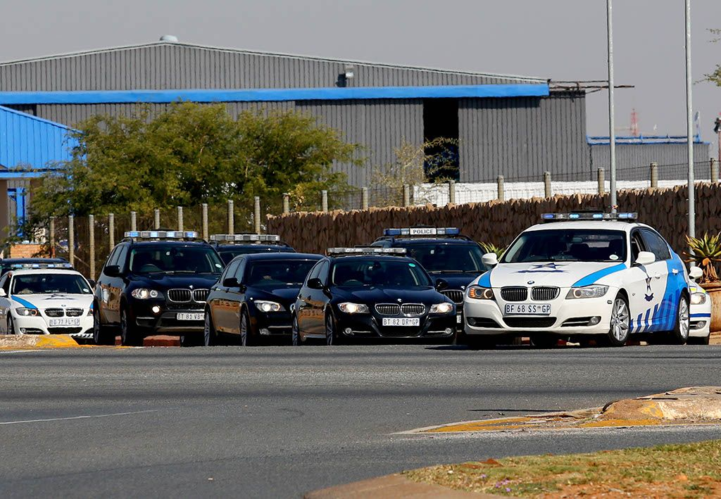 President Jacob Zuma's blue light escort leaves Waterkloof Air Force Base in Pretoria.