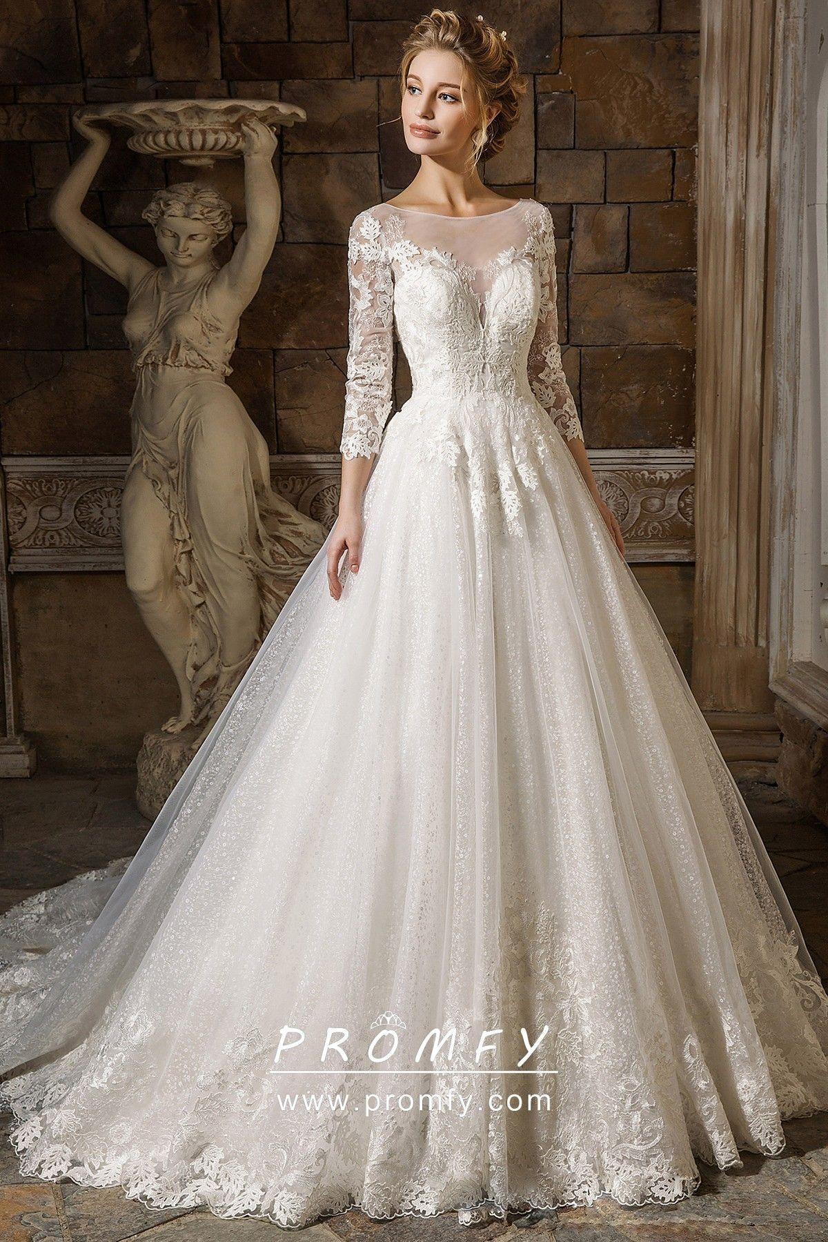 34 sleeve glitter tulle skirt bridal ball gown ball