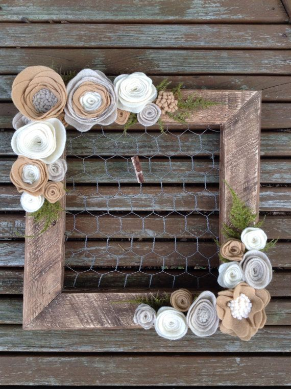 Handmade Wood Picture Frame With Chicken Wire Display And