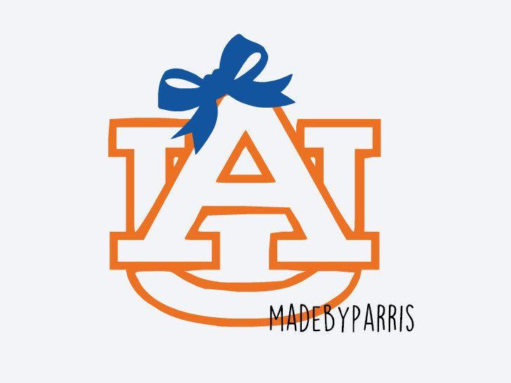 Auburn Logo With Bow Vinyl Decal Auburn Decal Auburn Football - Football custom vinyl decals for cars