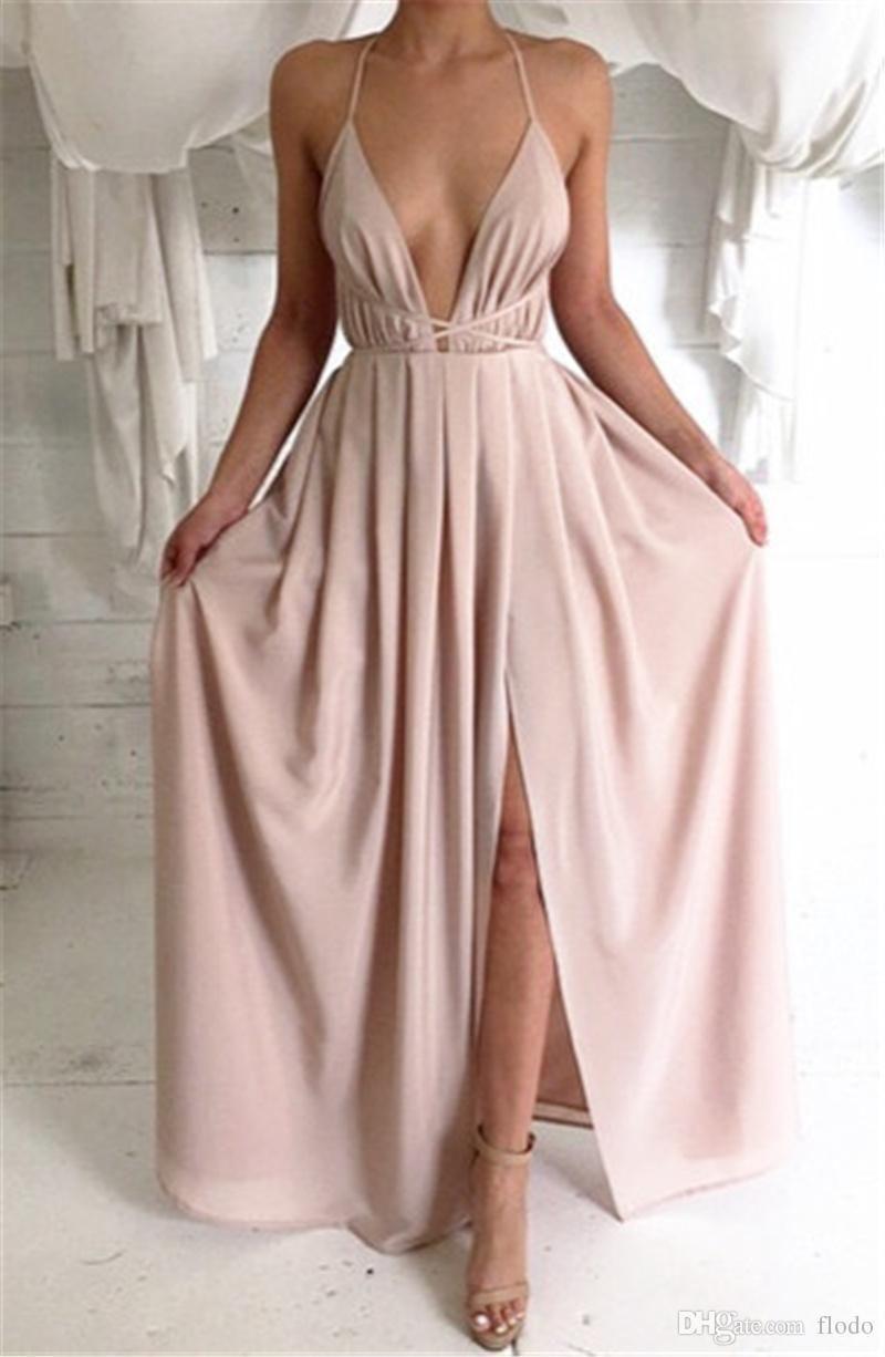 Cheap Chiffon Backless Formal Split Evening Gowns 2017 Sexy Criss ...
