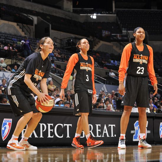 new style b26be 3531b ... Sue Bird wearing Nike Lebron Zoom Soldier V, Diana Taurasi wearing Nike  Lebron VIII,  Maya Moore ...