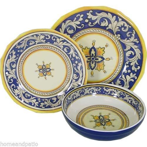 Le Cadeaux - melamine dinnerware Many of the patterns used are similar to period Italian images. I love that these are dishwasher safe and still look ...  sc 1 st  Pinterest & 18PC-Blue-Malaga-Top-Quality-Outdoor-Patio-Melamine-Dinnerware-Set ...