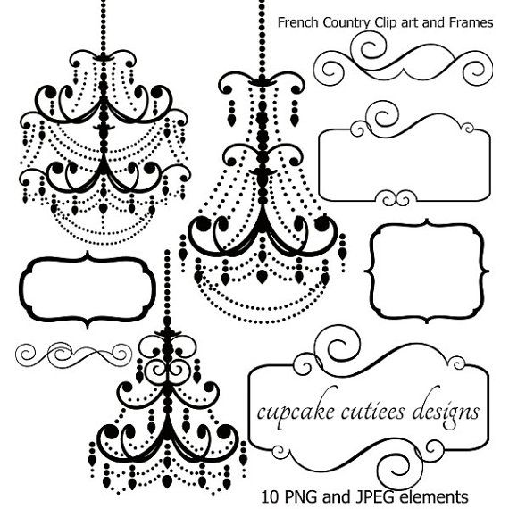 French Country Chandelier Frames and Tags Digital Clipart