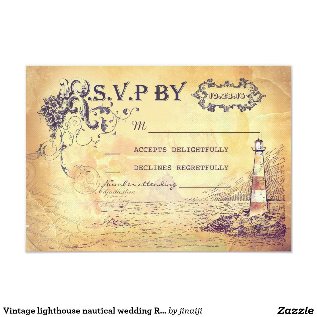 Vintage Lighthouse Nautical Wedding Rsvp Cards Cards Fonts And