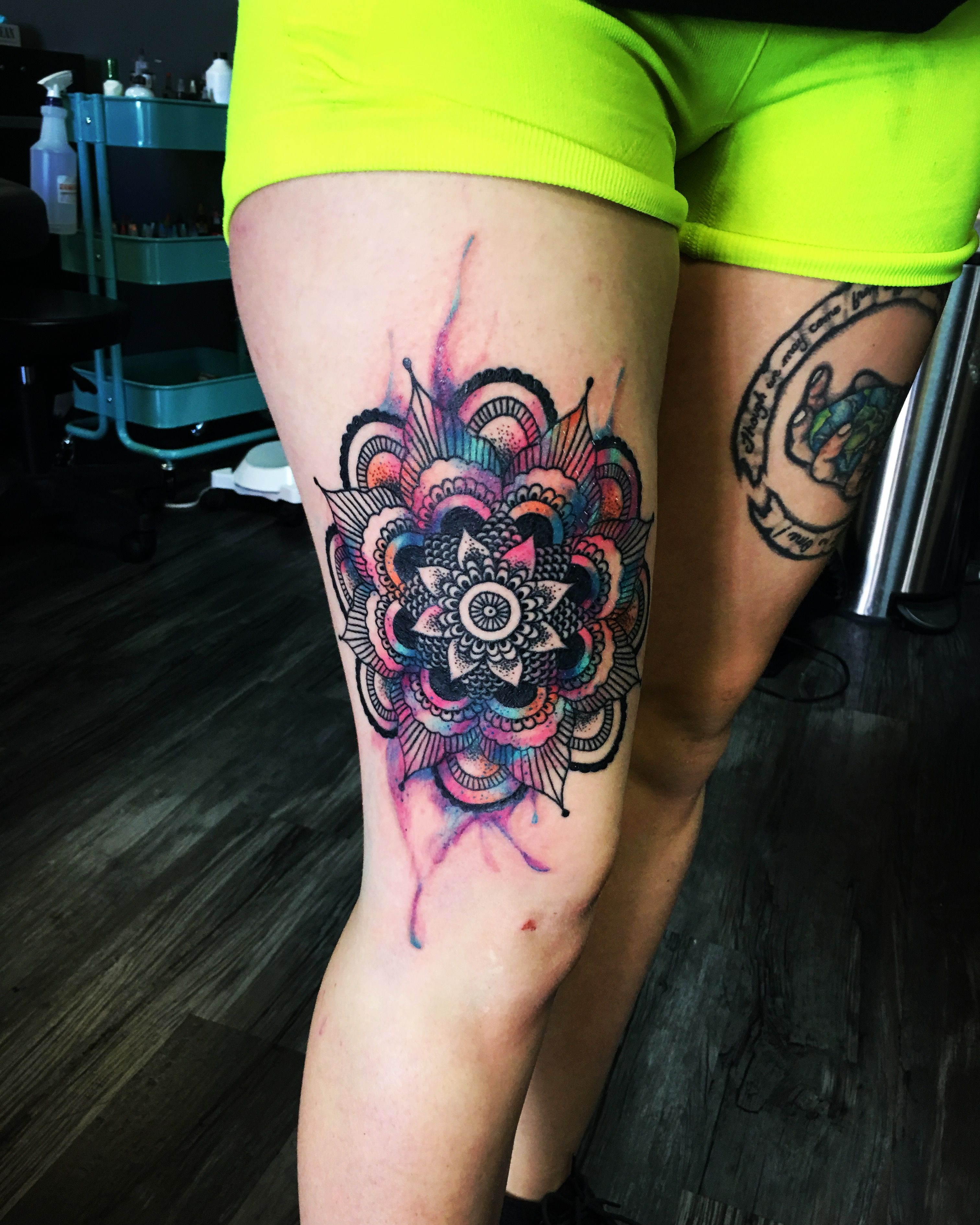 mandala watercolor tattoo thigh piece tattoos. Black Bedroom Furniture Sets. Home Design Ideas