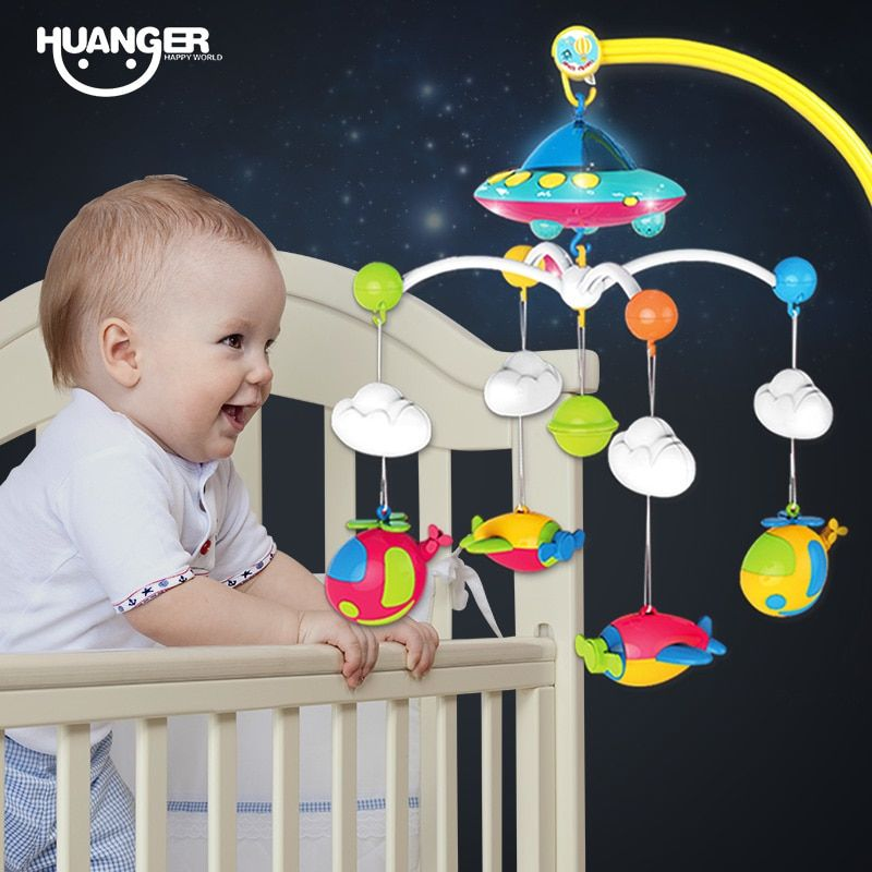 Huanger Baby Bed Bell 0 1 Year Old Newborn 0 12months Toy Rotating Music Hanging Baby Rattle Bracket Set Baby Crib Mobile Holder Baby Musical Toys Baby Crib Mobile Musical Crib Mobile