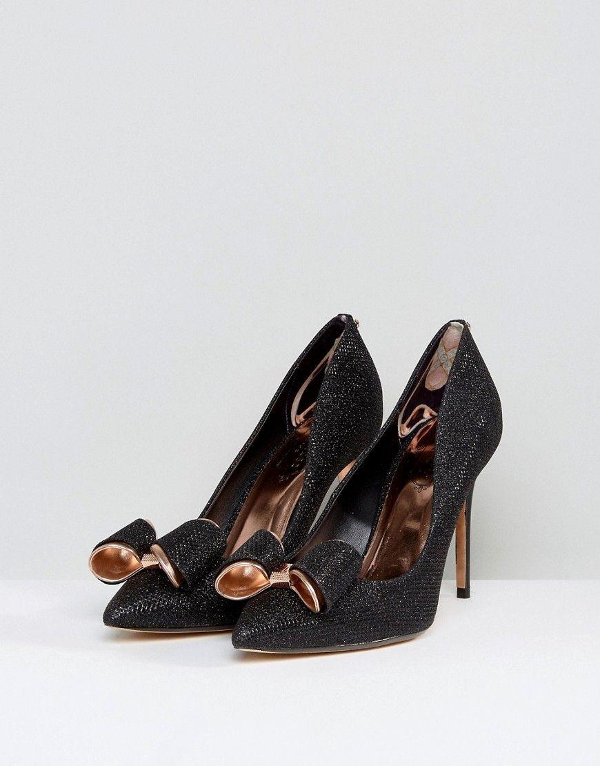 18790710d55 Ted Baker Azeline Black Sparkling Heeled Pumps - Black