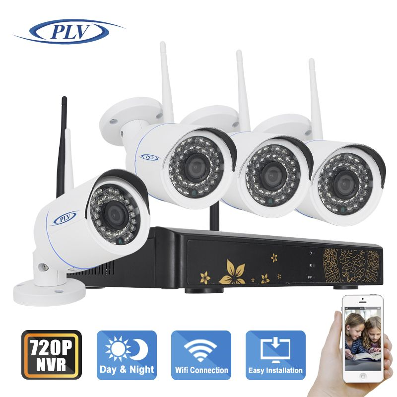 PLV 4CH IR HD Home Security Wifi Wireless IP Camera System 720P ...
