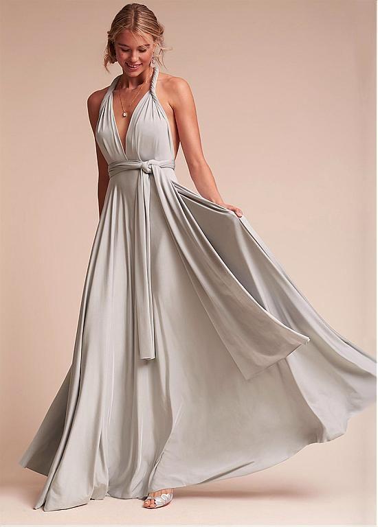 13ae66ce95 comprar Sexy Spandex halter escote palabra de longitud completa una línea  de vestidos de dama de honor de descuento en Magbridal.com