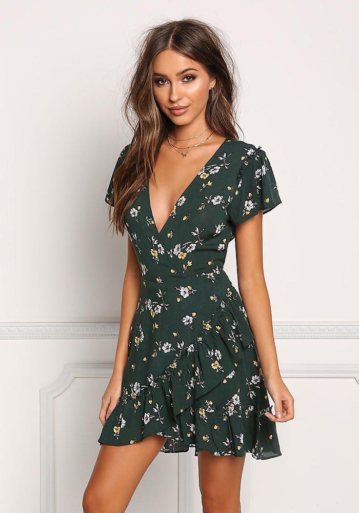 Hunter Green Floral Crepe Layered ausgestelltes Kleid – Day – Kleider – Sommer Mode Ideen