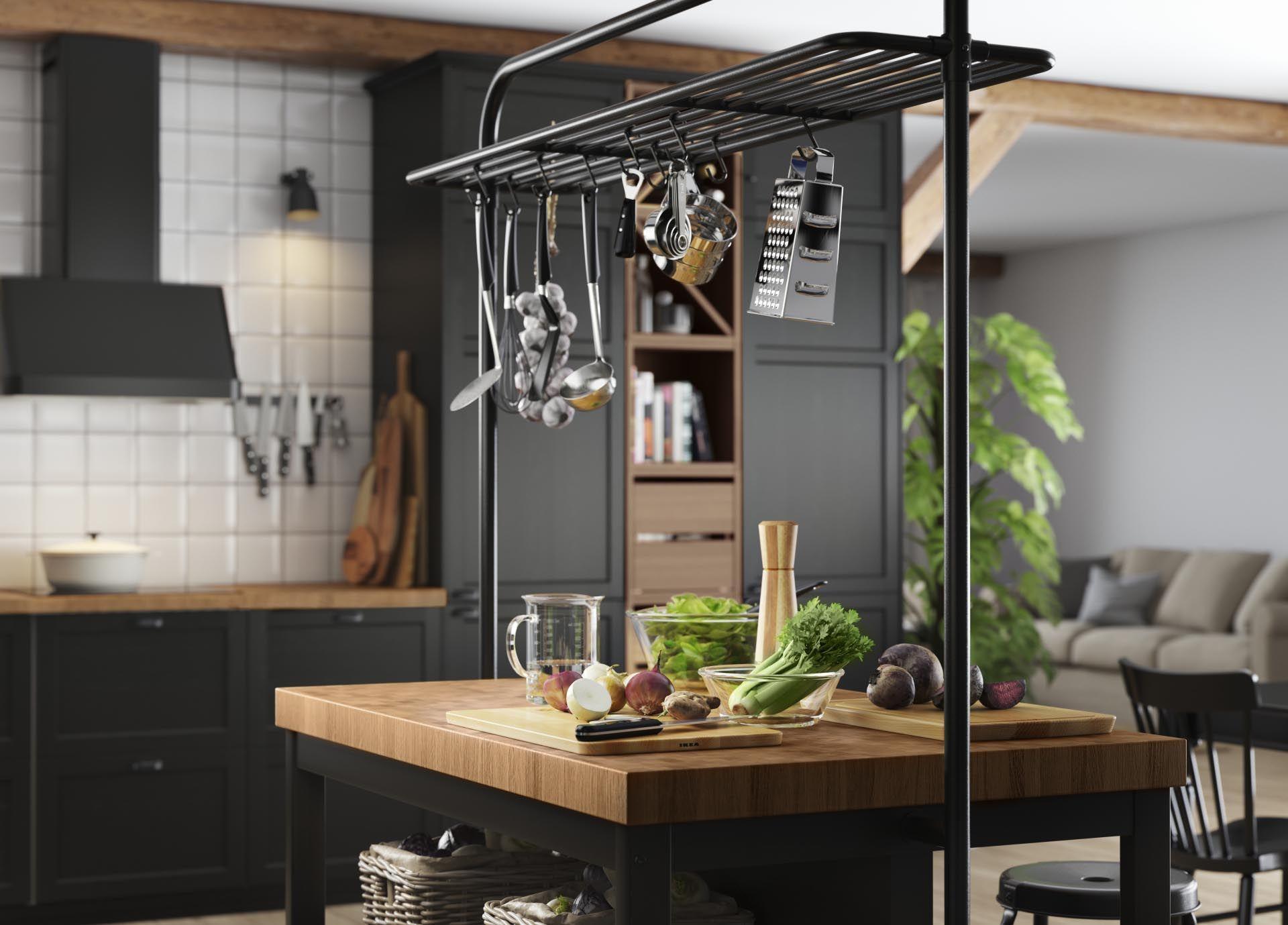 Trolley Keuken Ikea : Vadholma keukeneiland met rek zwart eiken in keukens
