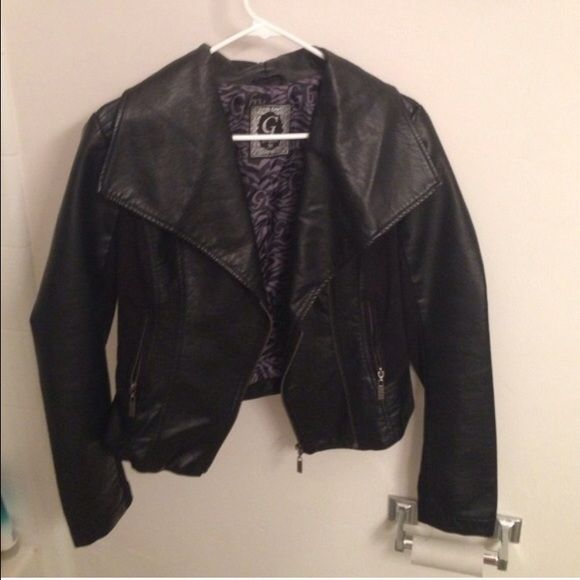 Guess leather jacket G by Guess, black and in like new condition! Guess Jackets & Coats