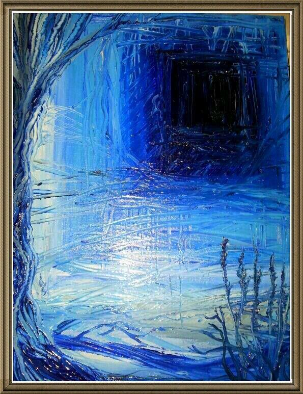 "Marton pool,shosphire.""what lies beyond ?"" Original on canvas"