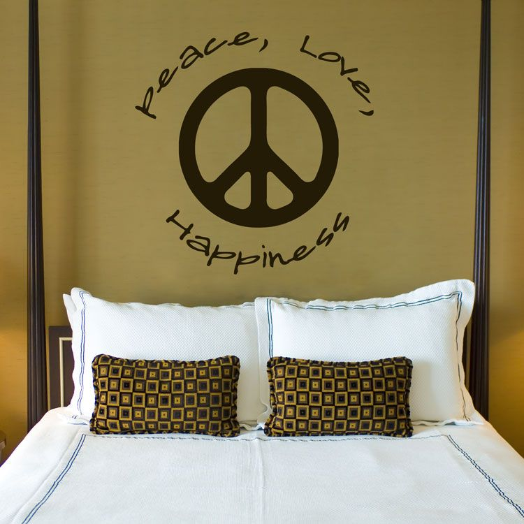 Peace Love Happiness   Quotes   Wall Decals