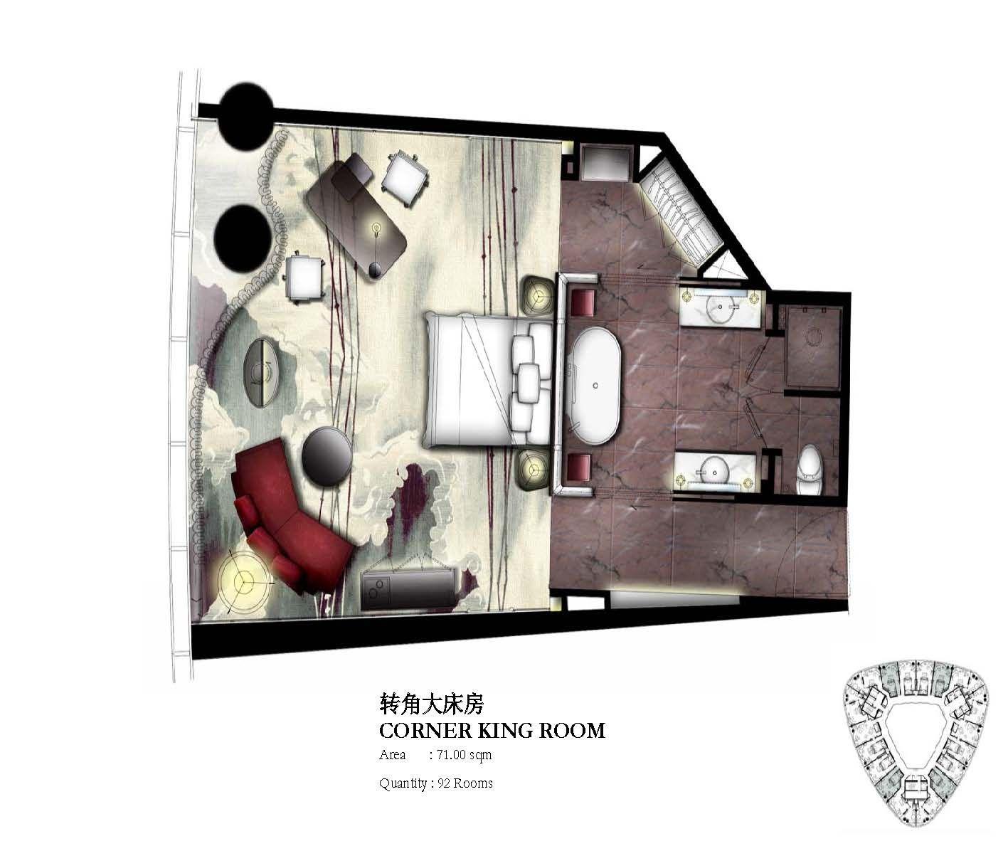 Corner King Guestroom Key Plan For Four Seasons Hotel Guangzhou Designed By Hba Hirsch Bedner Associates