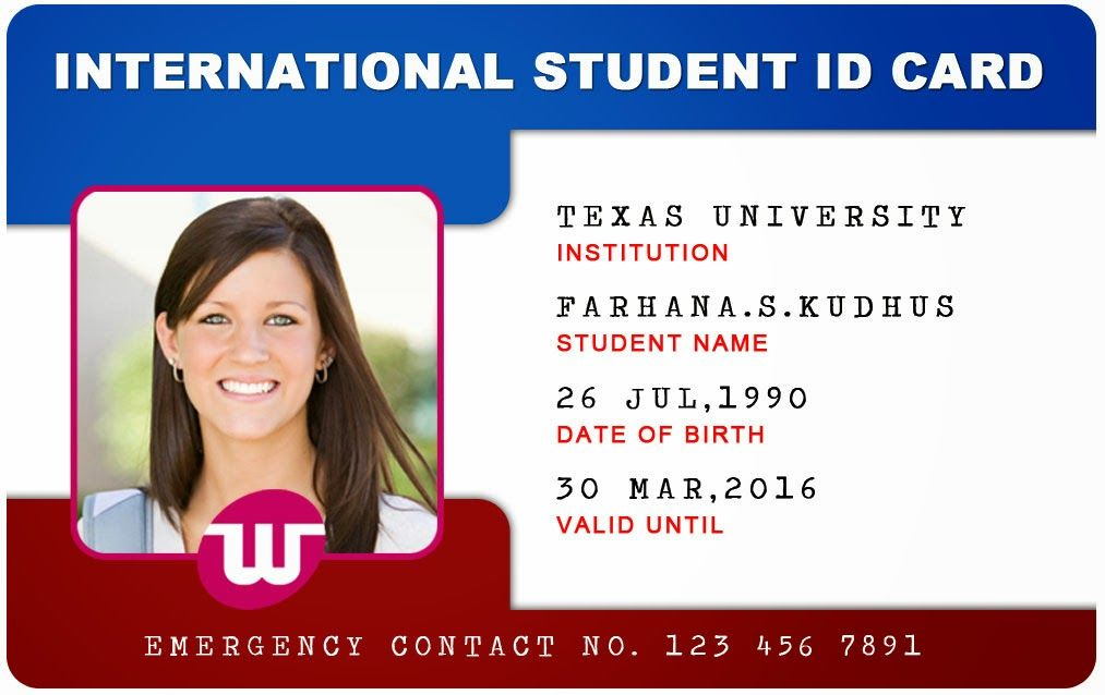 Beautiful student id card templates desin and sample word for Photographer id card template