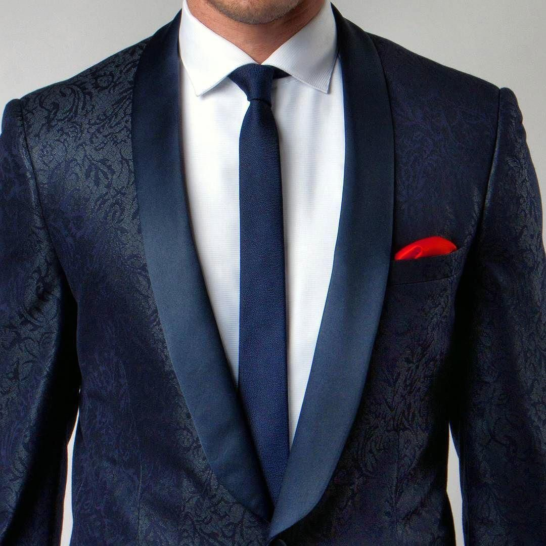 01d19c6605e Take a look at this New Navy Blue Pattern Tuxedo Jacket with Satin Shawl  Lapel.