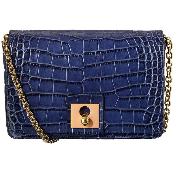 f78bdd18db Orla Kiely Croc Embossed Leather Robin Bag ($190) ❤ liked on Polyvore  featuring bags, handbags, shoulder bags, bolsos, orla kiely, navy, purse  shoulder bag ...