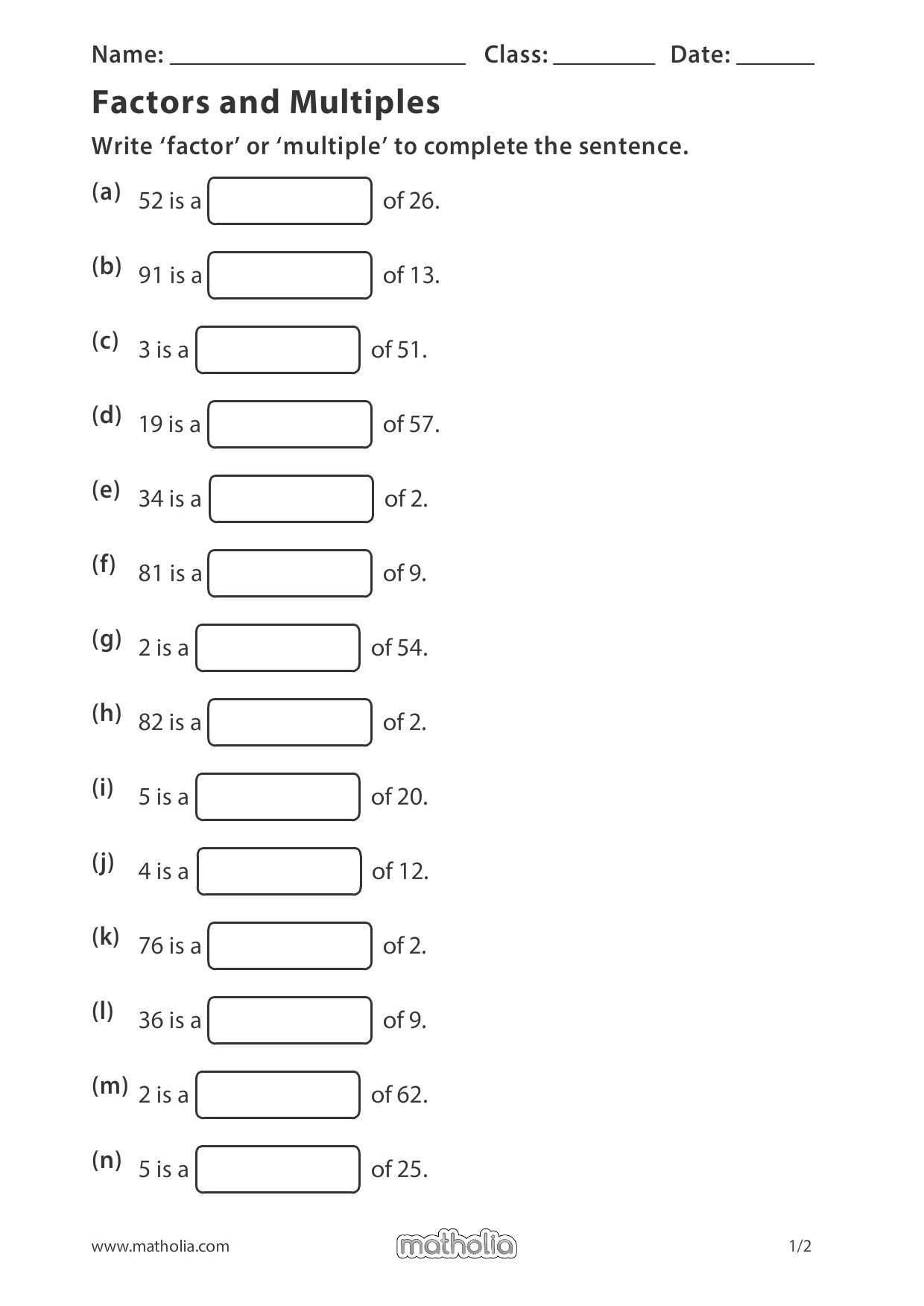 Factors And Multiples Factors And Multiples Grade 6 Math Worksheets Mathematics Worksheets