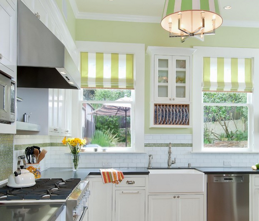 Green & White Striped Kitchen Roller Blinds