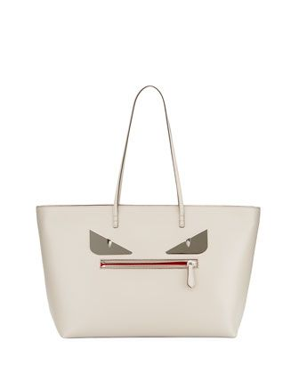 db58f368f Roll+Monster+Face+Leather+Tote+Bag,+Gray+by+Fendi+at+Neiman+Marcus ...