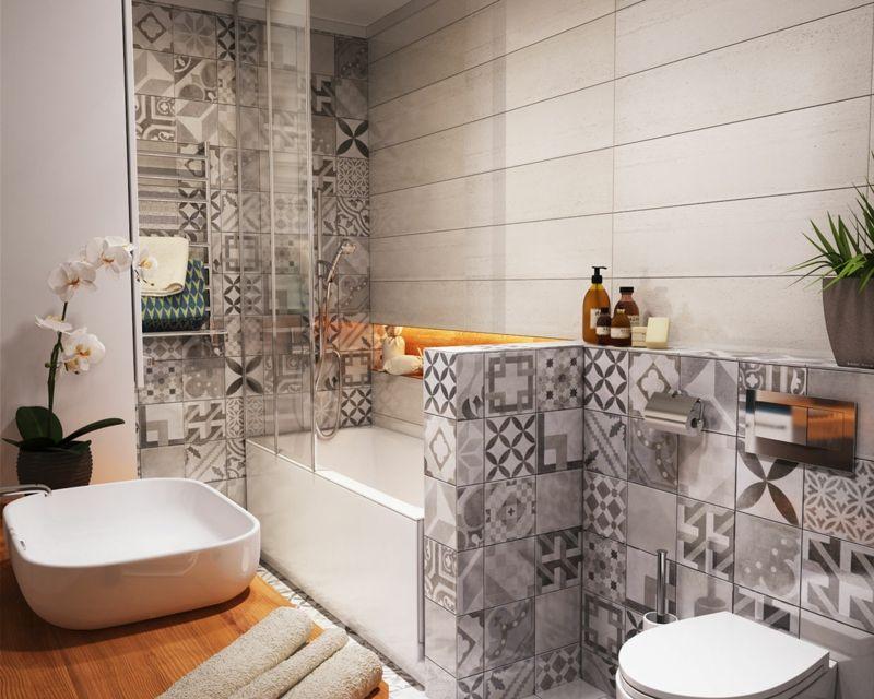 Kleines Badezimmer mit Patchwork-Fliesen in Grau For the Home - badezimmer grau design