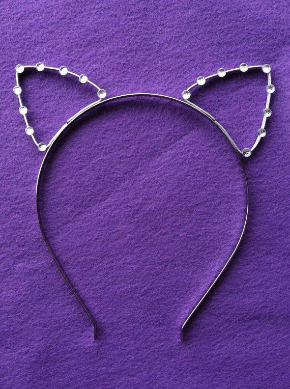 Kitty Cat Ears Headband Silver Cosplay Costume Crystal Tiara Concert Halloween