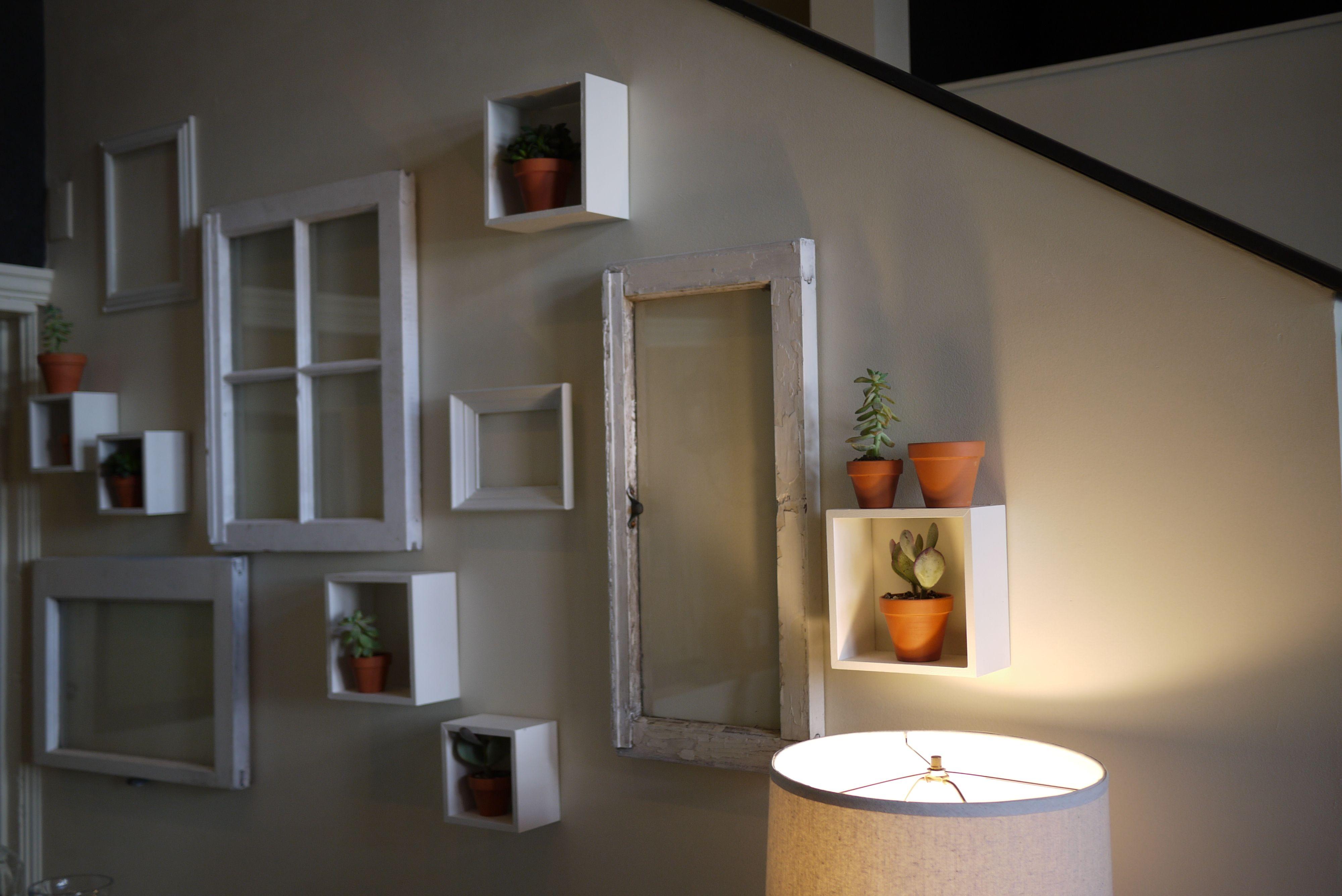 6 pane window frame ideas  whitewashed walls  vintage windows  succulents ryan  living