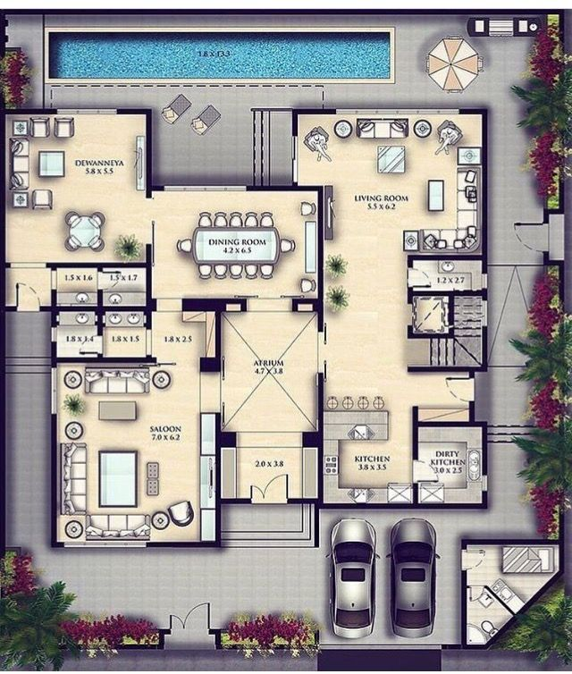 Pin By Magda On Rooms Architectural House Plans New House Plans Tv Room Design