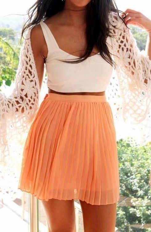 from tumblr orange flowy skirt white tank top lace summer fashion clothes outfit