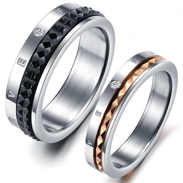 Matching Couple Rings 2pc Set Roman Numerals Couple Ring Band