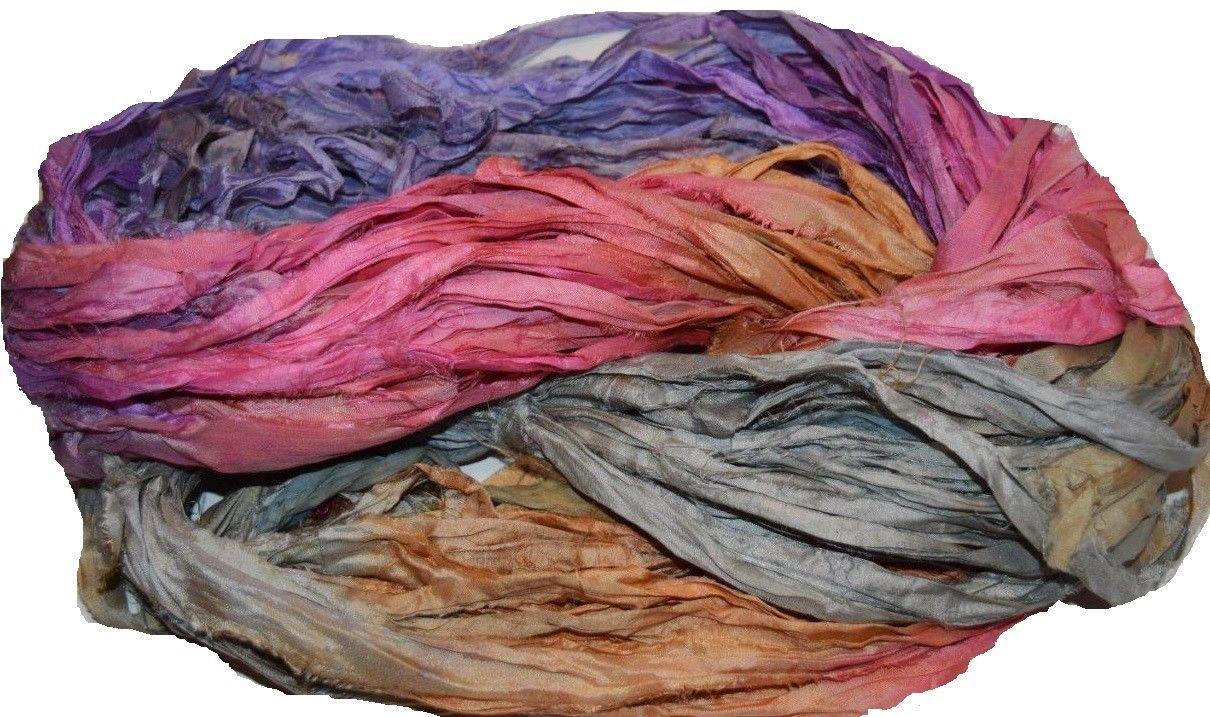 10 yards Recycled Sari Silk Ribbon Yarn,Pink purple for tassels or embellishment