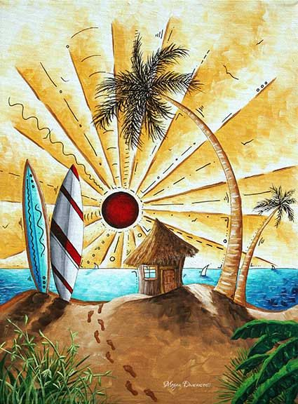 Pop Art Tropical Palm Tree Surfing Beach Hut Ocean By