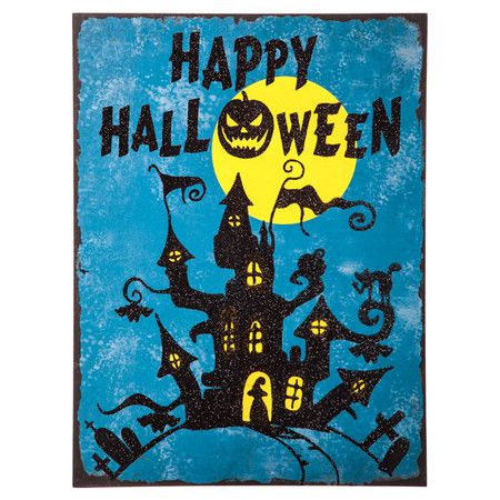 Get your entryway or kitchen in the Halloween spirit with this charming wood wall decor, featuring a spooky house print in a vintage-inspired style....