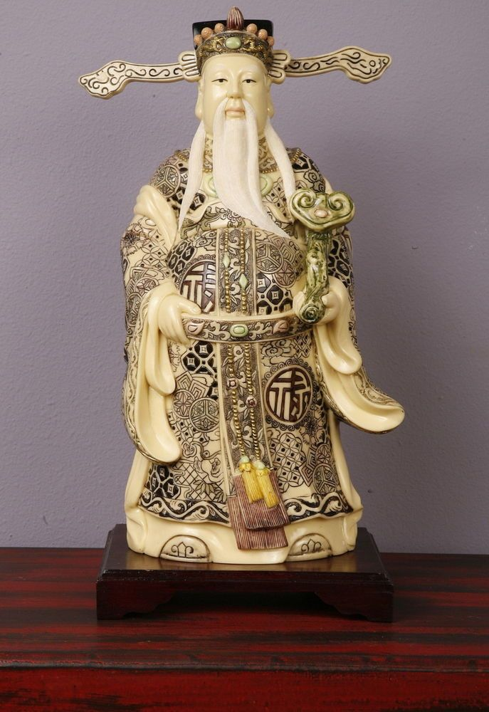 Vintage Oriental Standing Man Hand Painted Carved Bone Statue On Wood Base Bone Carving Asian Artwork Carving