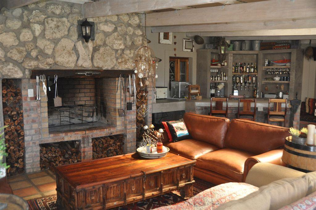 Open Plan Braai Area And Livingroom Indoor Purple Walls