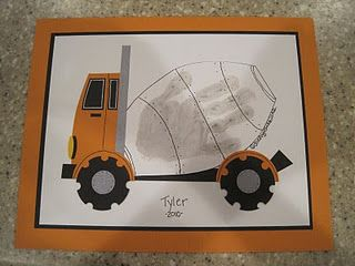 Hand print art.  To make for Chase's room along with the foot print tractor one.  Just use accessories from a tractor and cement mixer from a cricut cartridge.