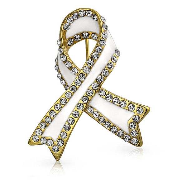 Bling Jewelry Bling Jewelry White Enamel Crystal Lung Cancer Awareness... (41 SAR) ❤ liked on Polyvore featuring jewelry, brooches, white, crystal jewelry, crystal brooch, gold plated jewelry, white brooch and enamel jewelry
